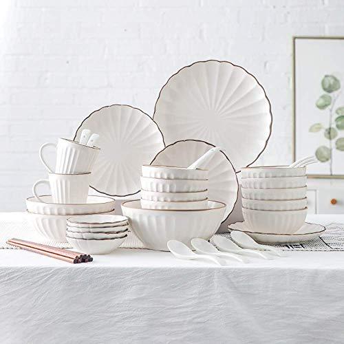 YGB De vajilla de China, vajilla de cerámica de Plato de Cena, 45 Piezas de vajilla de Porcelana Mate con diseño de pétalos |Tazón de Cereales, Taza y Plato para Regalos de Boda y par Familiar