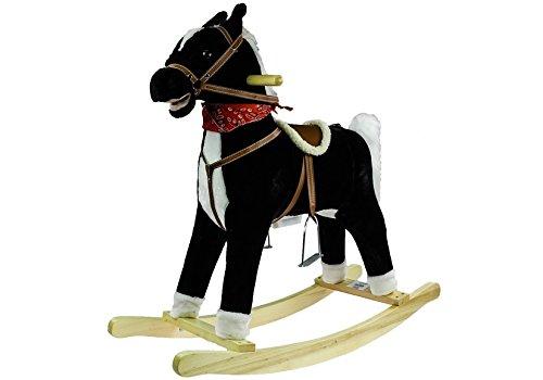Robix - Cavallo a dondolo interattivo con suono, in legno, colore: nero/bianco