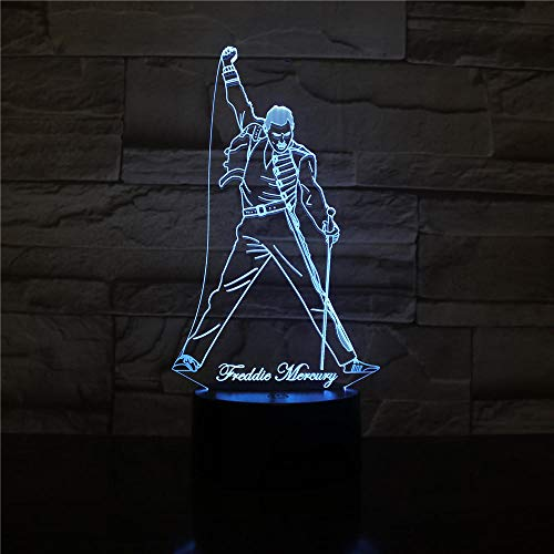 British Singer Freddie Mercury Figure 3D Led Night Light Lamp Nightlight for Office Home Decoration Best Fans Gift Mood Lamp Gifts USB Rechargeable