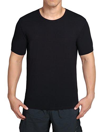 worboo - Camiseta de bambú para hombre, transpirable, suave, liso, cuello redondo, XXL, Negro