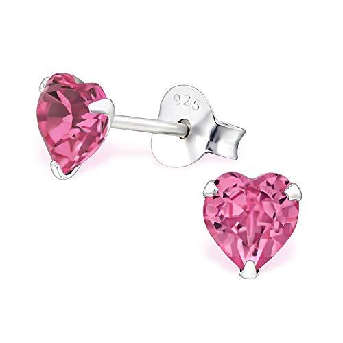 Monkimau Mädchen Ohrringe Herz Ohrstecker aus 925 Sterling Silver echt Silber mit 2 Swarovski Kristallen (pink)