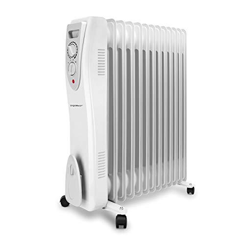 Aigostar Warm Snow - Radiatore ad olio portatile a basso consumo, Safe Heat a 3000W, 13 elementi con tre regolazioni termiche e controllo termostato. Design esclusivo.