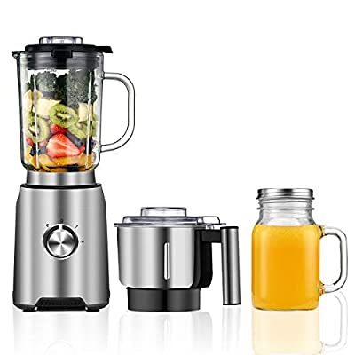 Countertop Blender - CSS Professional Blender for Kitchen with 1000W, 72 Oz High Capacity Glass Jar Blender for Kitchen, Processor Bowl & Smoothies Cup included, Silver