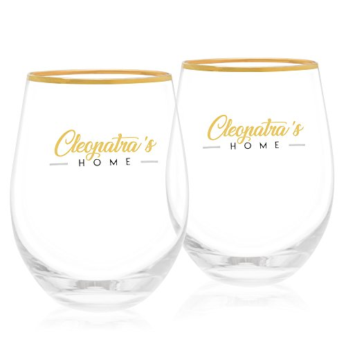 Stemless Wine Glasses Set of 2 by Cleopatra's Home | 15 oz No Stem Glasses to prevent Spills | Perfect for families | New Red & White Wine, Cocktail Glasses | Elegant Box, ideal Gift