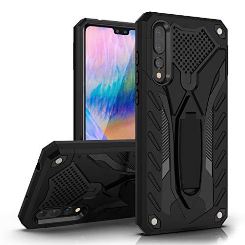 MILAN NICE Funda para Huawei P20 Pro de Silicona y PC Antigolpes Carcasa Protectora Anti-arañazos y Antideslizante con Soporte Incoporado (Negro)