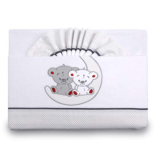 Pekitas - Set di lenzuola di flanella, per neonati, 3pezzi, per lettino da 60x 120 cm,100% cotone, prodotte in Portogallo Cuna Grigio-bianco,culla 60 x 120
