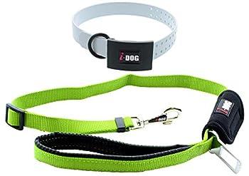 i-Dog Pack Harnais Chien NEOCAM Collier Blanc + Laisse avec Attache Voiture Verte (S, Gris)