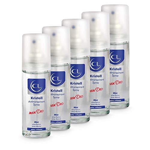 CL Desodorante piedra de alumbre natural antitranspirante 5x 20 ml - Ofrece una protección de 24 horas - Especial para pieles sensibles - Cristal de aluminio para hombres y mujeres