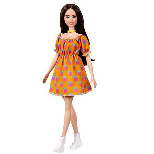 Barbie GRB52 - Fashionistas Puppe im schulterfreien Polka-Dot Kleid, für Kinder von 3 bis 8 Jahren