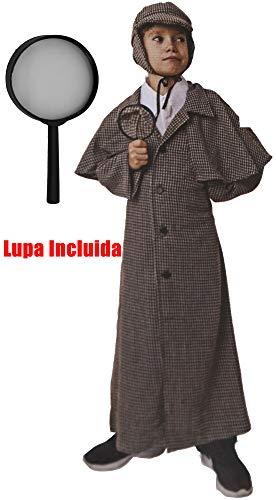 Gojoy Shop- Disfraz de Sherlock Detective para Niños y Niñas Carnaval (Contiene Lupa, Gorro, Gabardina y Cuello, 4 Tallas Diferentes) (10-12 años)