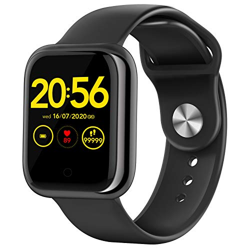 Wordcam Smartwatch, Orologio da Polso da 1,3', con Cardiofrequenzimetro, Pressione Arteriosa, Cronometro, Calorie, Pedometro, Fotografia Remota, Monitor del Sonno, IP68, Smart Watch per Android iOS