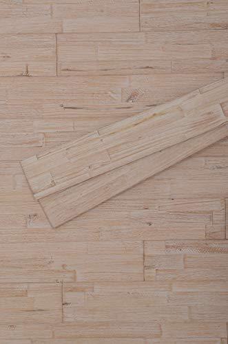 mywoodwall 3D Wandverkleidung Holz Weiß inkl Doppelseitiges Klebeband Antique White Moderne Wand- Decken-Paneele Selbstklebend Wohnzimmer Schlafzimmer Garderobe