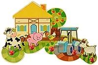 Liebevoll gestaltete Wandgarderobe mit 5 Kleiderhaken, im kindgerechten, farbenfrohen Design mit Tieren, die auf einem Bauernhof leben, einem Haus, Apfelbaum und Traktor, Größe ca. 37 x 24,5 x 6,5 cm Die stabilen Haken haben die Form von großen roten...