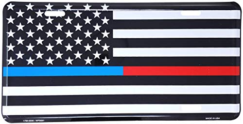 AEMAPE Thin Blue Red Line USA Metal License Plate – 6x12 inch Black and White American Flag Auto Tag for Cars and Trucks In Support of First Responders Police Firefighters