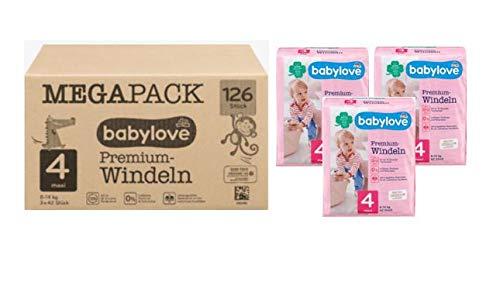 Babylove Premium Lot de 3 paquets de 42 couches Taille 4 maxi (7-18 kg)