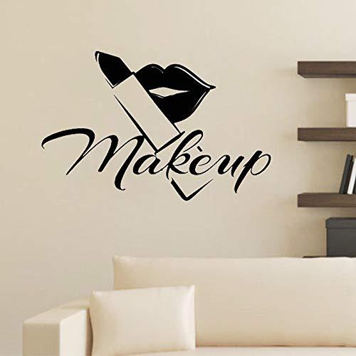 HNXDP Makeup Lips Lippenstift Wandaufkleber Beauty Salon Shop Vinyl Wandtattoos Kunst Wandbild Abnehmbares Wohnzimmer Schlafzimmer Dekoration Poster 58cmx40cm