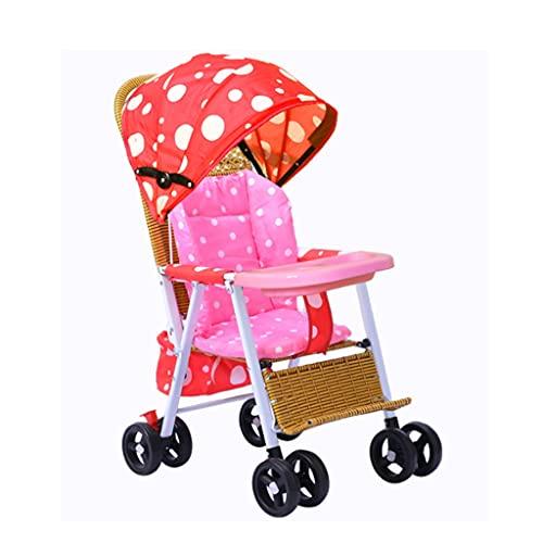 Yyqx sillas de Paseo Bamboo Rattan Stroller Verano Puede acostar los cochecitos de ratán Bambú Silla de Mimbre Bebé Puede Sentarse y Doblar el Auto Infantil (Color : Red, tamaño : A)