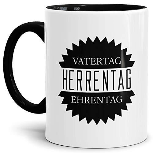 Tassendruck Herrentag-Tasse Vatertag - Ehrentag Innen & Henkel Schwarz/Papa/Vater/Betrunken/Flieder/Fahrrad/Bier/Beste Qualität - 25 Jahre Erfahrung