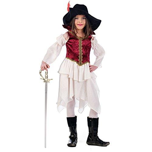 Elbenwald Musketier Kleid Kinder Kostüm 2tlg mit Hut - 3/5 Jahre