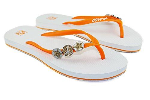 COVY'S jandals orange/White #5110 Women (Zehentrenner, Sandale, DIY, Pins)