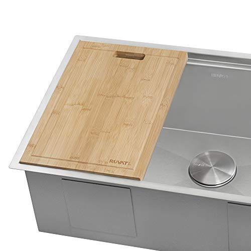 bamboo sinks Ruvati 17 x 11 inch Bamboo Cutting Board for Ruvati Workstation Sinks - RVA1217BAM