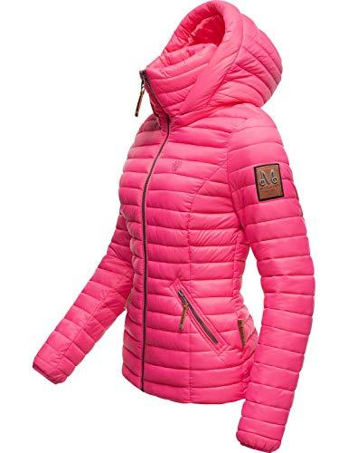 Marikoo Damen Übergangsjacke Steppjacke mit abnembarer Kapuze Löwenbaby Pink Gr. M