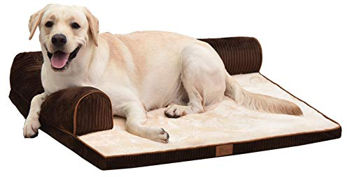 AcornPets B-1202 Large Deluxe Coffee Brown Memory Foam Dog Sofa Mattress Bed Fleece 90 x 75 CM For Large Dogs, Premium Corduroy and Smooth Velveteen Fabric, Detachable and Washable