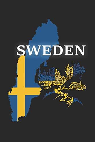Wikstroem - Notes: Schweden Land Flagge Wald Holzhaus - Notizbuch 15,24 x 22,86 Punktgitter