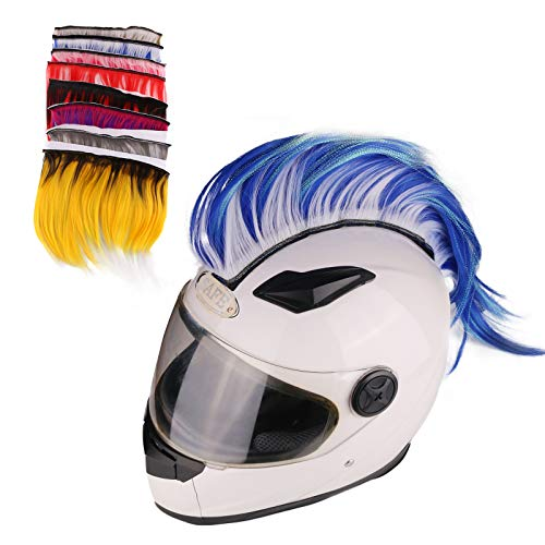 Namecute Helmet Mohawk Motorcycle Hair Helmets Synthetic Costume Wig for Bicycle Ski Helmet Accessories Decoration (Blue/White)