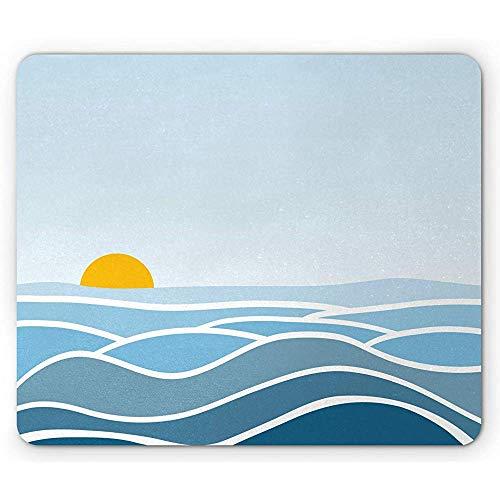 Tappetino per mouse floreale, onde minimaliste Sunrise OpenPrint, tappetino per mouse rettangolare in gomma antiscivolo, blu cielo arancione