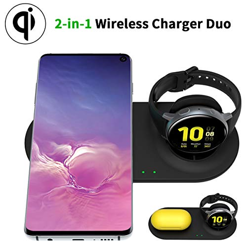 HATALKIN Wireless Charger for Samsung Galaxy Watch and Phone Charger Charging Pad Stand Compatible Galaxy Watch 3 41mm 45mm 42mm 46mm Active 2 Gear S3/Z Flip/Note20/20 Ultra/Buds Live Samsung Products