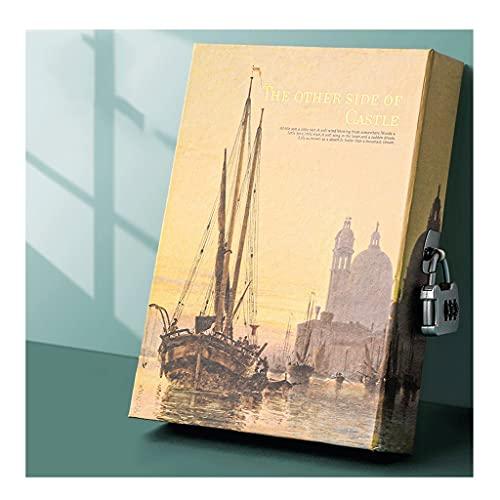 ZNZNN Cuaderno de Libro de contraseñas A5 con Cerradura, Libro Secreto para niños, Bloc de Notas cifrado con Ilustraciones Regalo Cuaderno Multifuncional (Color : Sailing)
