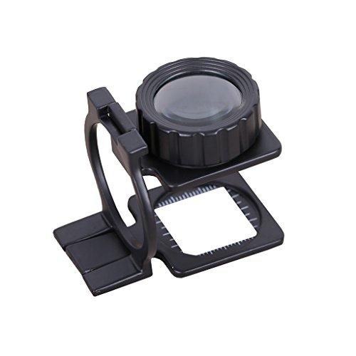 Lupa Bolsillo 20X Tela Escala de la medida Cuentahilos Metal (negro) Plegable en Tres Partes Lupa
