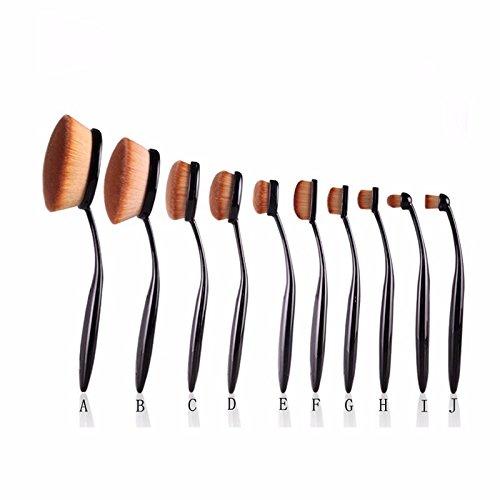 2016 New Professional 10/Lot brosse à dents brosse à dents forme ovale Pinceau de maquillage Kits de pinceau fond de teint poudre professionnel