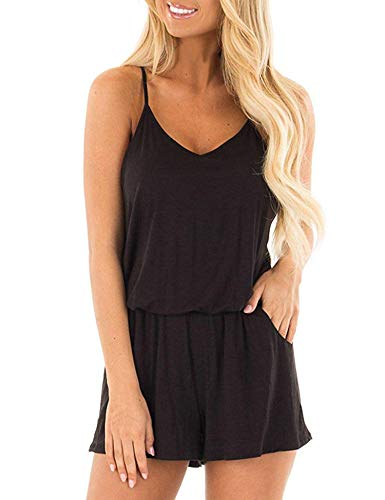 Bluetime Rompers for Women Summer Loose Casual Beach Outfits Spaghetti Strap Short Jumpsuits (Black, M)