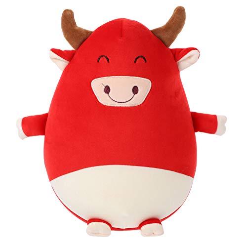 VALICLUD Juguete de Buey Del Zodiaco Chino Juguetes de Vaca de Peluche Figuras de Buey Del Zodiaco Chino Almohada de Peluche Cojín de Juguete Muñeca de Vaca Animales de Granja Juguete