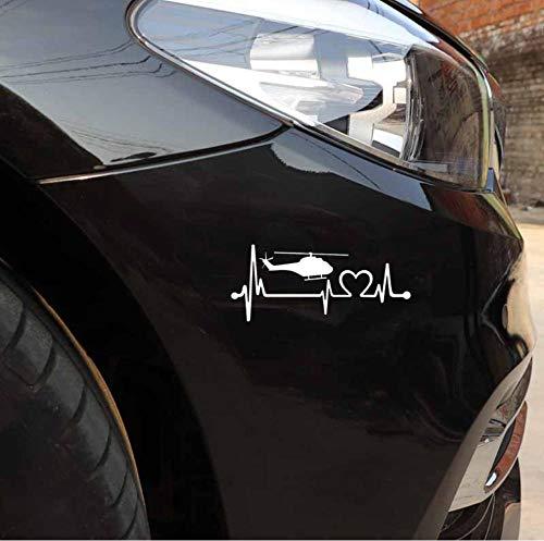 Niedliche Landschaften Auto Aufkleber Hubschrauber-Herzschlag-Rettungs-Hubschrauber-Pilot Vinyl Black Car Sticker 15,3 Cm * 6,6 Cm