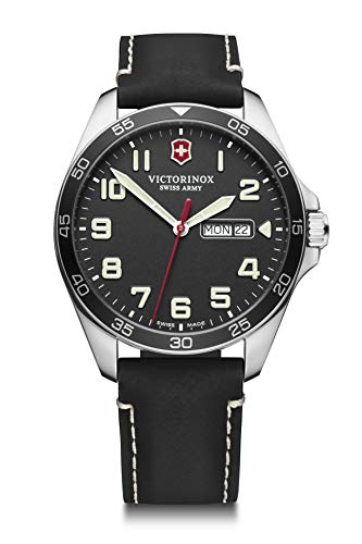 Victorinox FieldForce Cuarzo - Reloj (Reloj de pulsera, Masculino, Acero inoxidable, Acero inoxidable, Cuero, Negro)