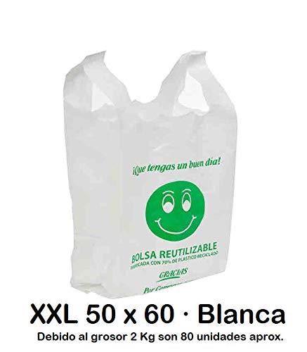 Bolsas de Plástico Tipo Camiseta Resistentes, Reutilizables y Recicladas | Galga 200 | Tamaño XXL 50x60 cm | 2 Kg - 80 uds Aprox. | 70% Recicladas | Cumple Normativa | Aptas Uso Alimentario | Blancas