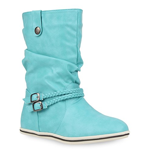 Damen Stiefeletten Schlupfstiefel Flach Stiefel Leder-Optik Metallic Boots Trendy Übergangs Schuhe...