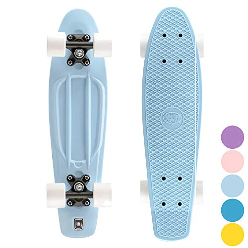 Xootz Cruiser Skateboard, für Kinder geeignet, im Retro-Design, aus Plastik, gebrauchsfertig Blau blau 22-Inch