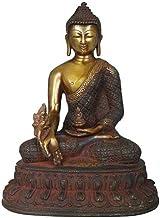 Tibetan Buddhist Healing Buddha (Medicine Buddha) - Brass Statue - Color Sindoori Black Gold Color