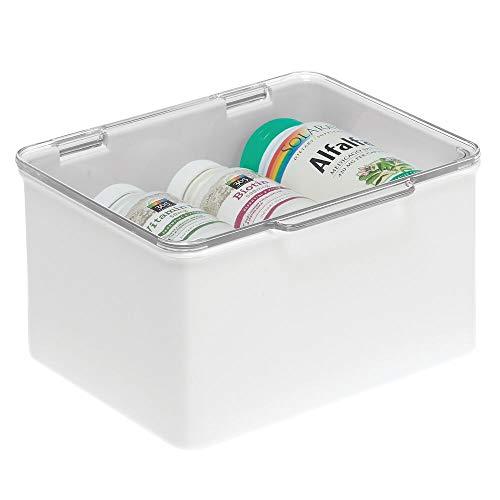 mDesign Cajón de plástico sin BPA – Caja con tapa de diseño apilable, ideal para organizar la cocina, la habitación infantil o el baño – Cajas de ordenación multiusos – blanco y transparente