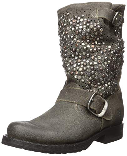 FRYE Women's Veronica Deco Short Mid Calf Boot, Grey, 7.5 M US