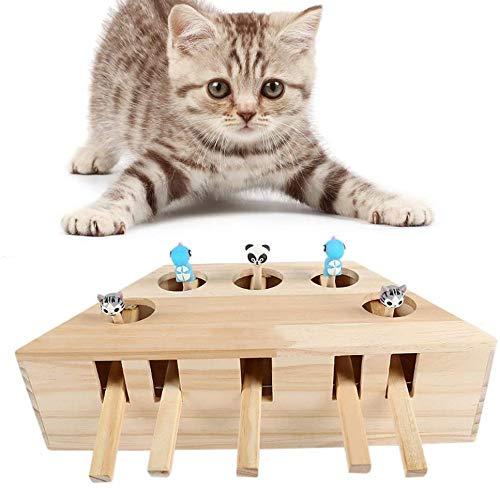 AMZYY Katzenspielzeug Interaktive Maus Schlagen Sie Eine Maulwurfmaus Aus Massivem Holz Puzzle Box Katzen-Übungsspielzeug Mit Niedlichen Cartoon-Spielzeug 5 Löcher
