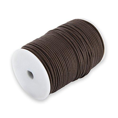 Auroris 100m Rolle Baumwollband rund 1mm Farbe: braun