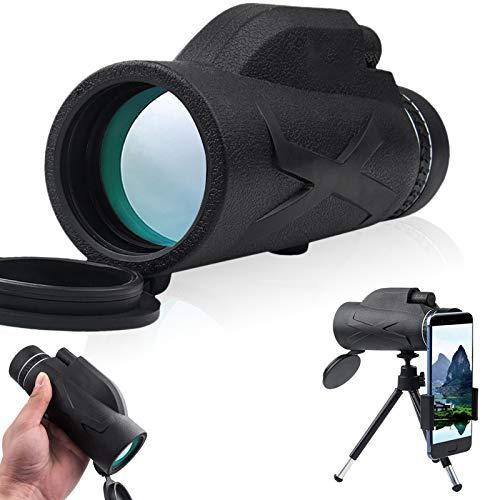 Telescopio monocular 80 x 100,4 K HD, zoom monocular impermeable, resistente a los golpes, anti-vaho, con soporte para teléfono móvil y trípode para tomar fotos o vídeos a distancia