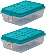 Hefty 40-Qt Hi-Rise Clear Latch Box, Teal Sachet Lid and Handles (2)
