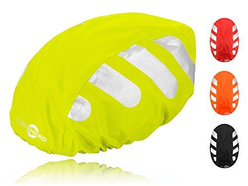 Wasserdichter Regenschutz für den Fahrradhelm (gelbes Cover) Unisex Regenüberzug für den Helm mit Gummizug und Reflektor-Elementen – wasserfester Überzug für alle Helme (Herren, Damen, Kinder)