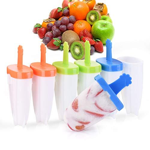 Eisformen [Neuste Modell] IKICH 6 Eisförmchen Popsicle Formen Set, Eisform Silikon, Stieleisformer LFGB Geprüft und BPA Frei, Mini Eisform für Kinder, Baby, Erwachsene Mini Kühlschrank
